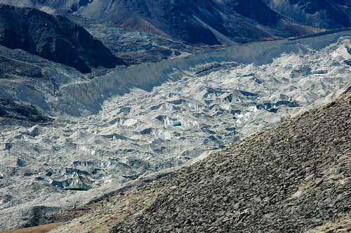 Khumbu glacier and moraine,...