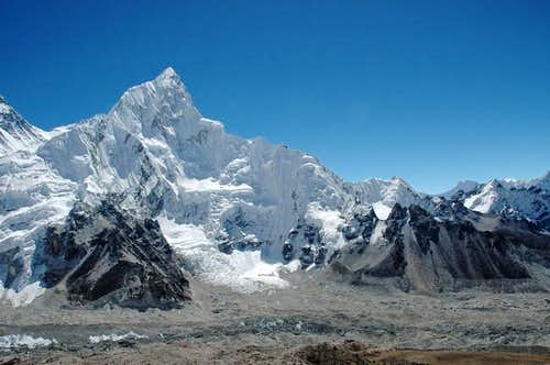 Nuptse rising above Khumbu...