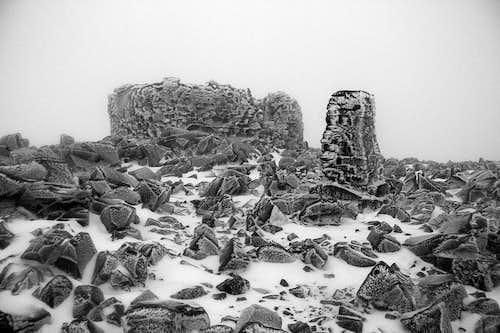 Frozen Scafell Pike summit