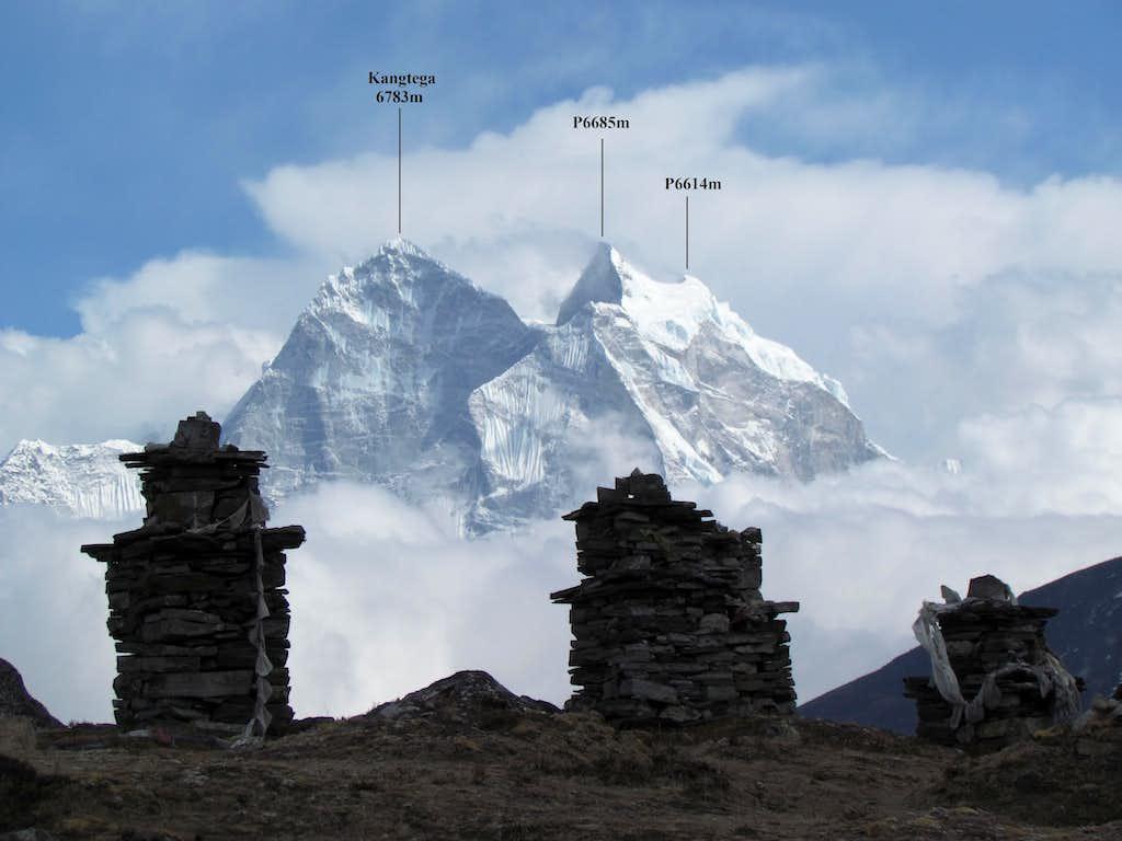Kangtega (6783m) from Thokla pass