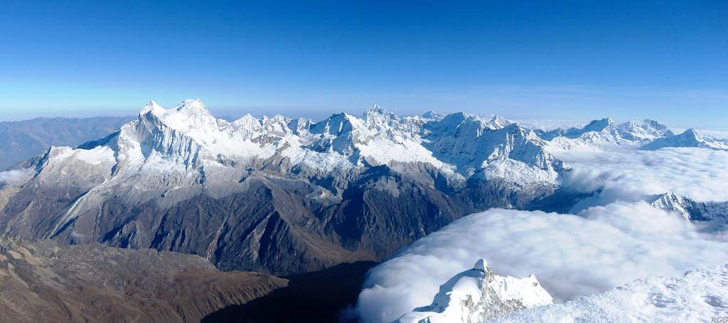 Cordillera Blanca panorama from Chopicalqui