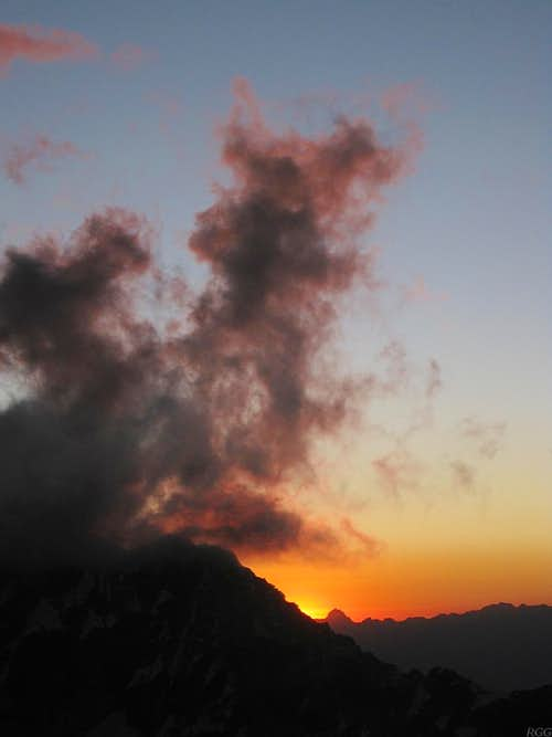 Sunset behind Huascarán Norte from Chopicalqui high camp