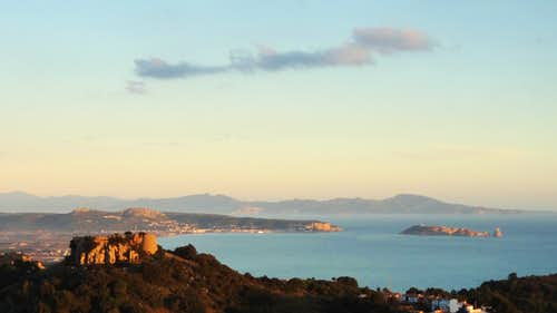 Sunrise on Begur Castle, Cap de Creus and Medes islands