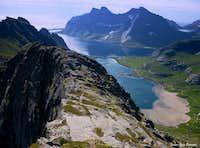 Bunesfjorden seen from Helvetestinden South ridge, Lofoten