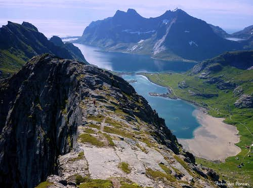 Bunesfjorden seen from Helvetestinden South ridge, Lofoten