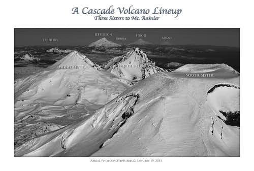 Cascade Volcano Lineup: Sisters to Rainier (black/white version)