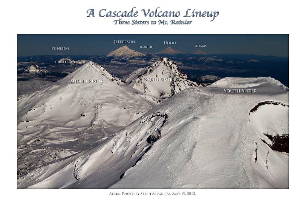 Cascade Volcano Lineup - Sisters to Rainier