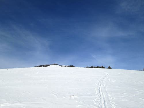 My lonely ski track leading down from the summit of Sepulcher Mountain-Yellowstone National Park