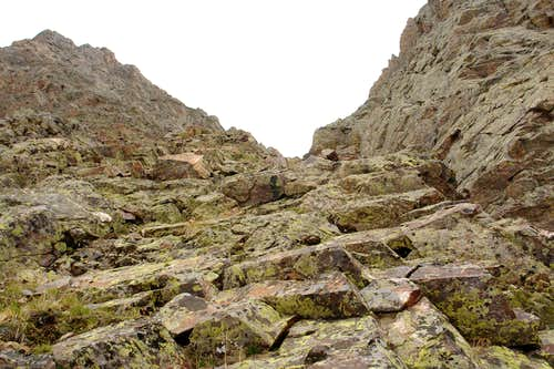 Slabs and ledges on the Southeast Face of Trinity Peak