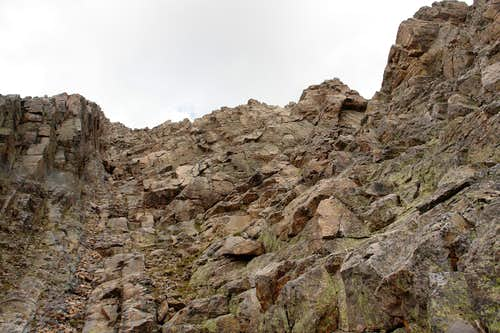 Looking up the summit gully on Trinity Peak