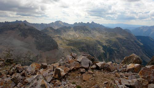 Needle Mountains from the summit of Trinity Peak