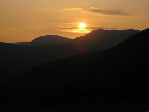 Sunset over the Lake District from the slopes of Scafell Pike