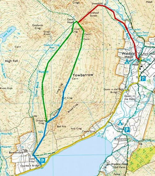 Routes up Yewbarrow