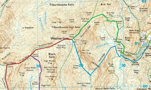 Routes up Wetherlam