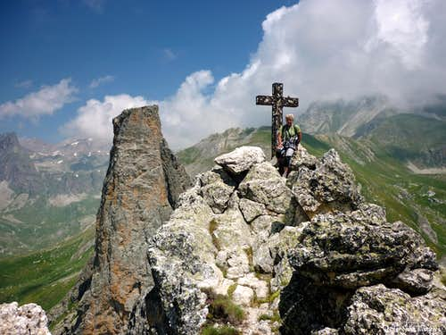 Rocca Provenzale summit cross and Torre Castello