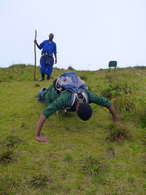Pushups on the Bisoke summit crater