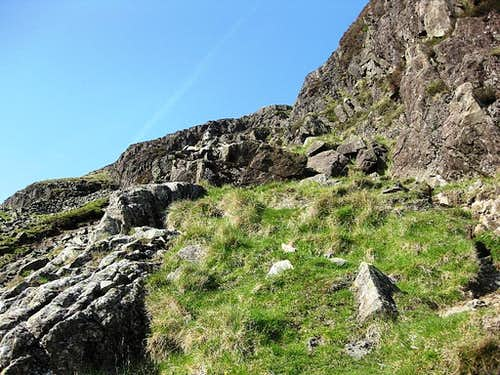 Approaching the scrambling section on the south route of Yewbarrow