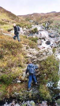 Clambering out of a gulley in...