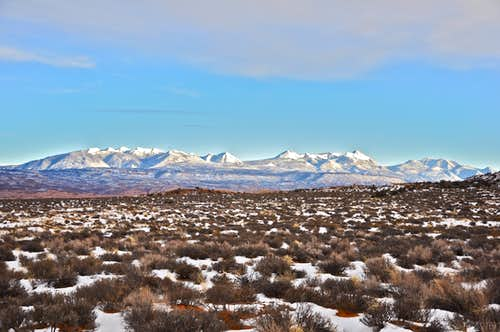 Distant view of La Sal Mountains