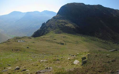 A distant Geat End, Broad Crag, Scafell Pike and Scafell, and a nearby Stirrup Crag on Yewbarrow.