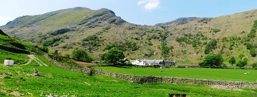 Approaching Seathwaite Farm and Base Brown