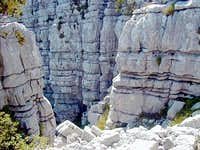 Karstified limestone at the...