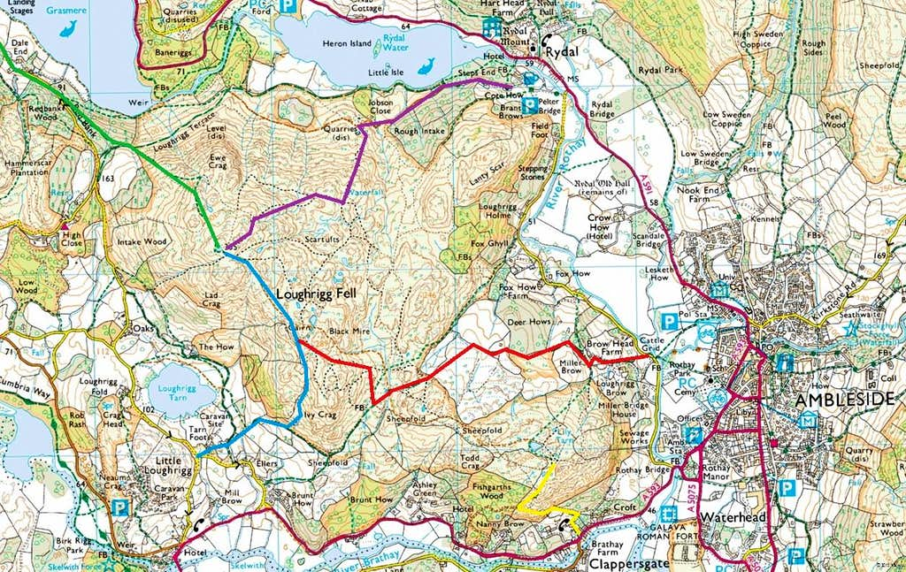 Loughrigg Fell Routes Map