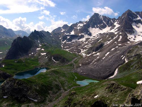 Marinet Lakes seen from Aiguille Large