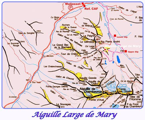 Aiguille Large de Mary map
