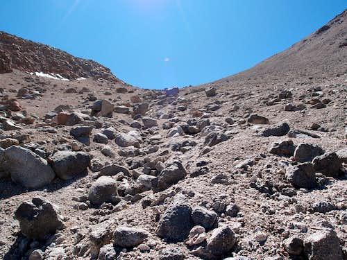 Climbing up to high camp