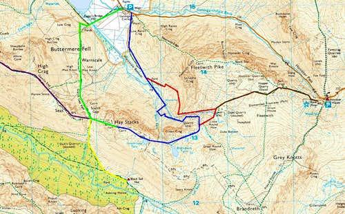 Routes up Haystacks