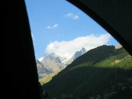 The Dom (4545 m) and the Täschhorn (4491 m) seen from inside the tent
