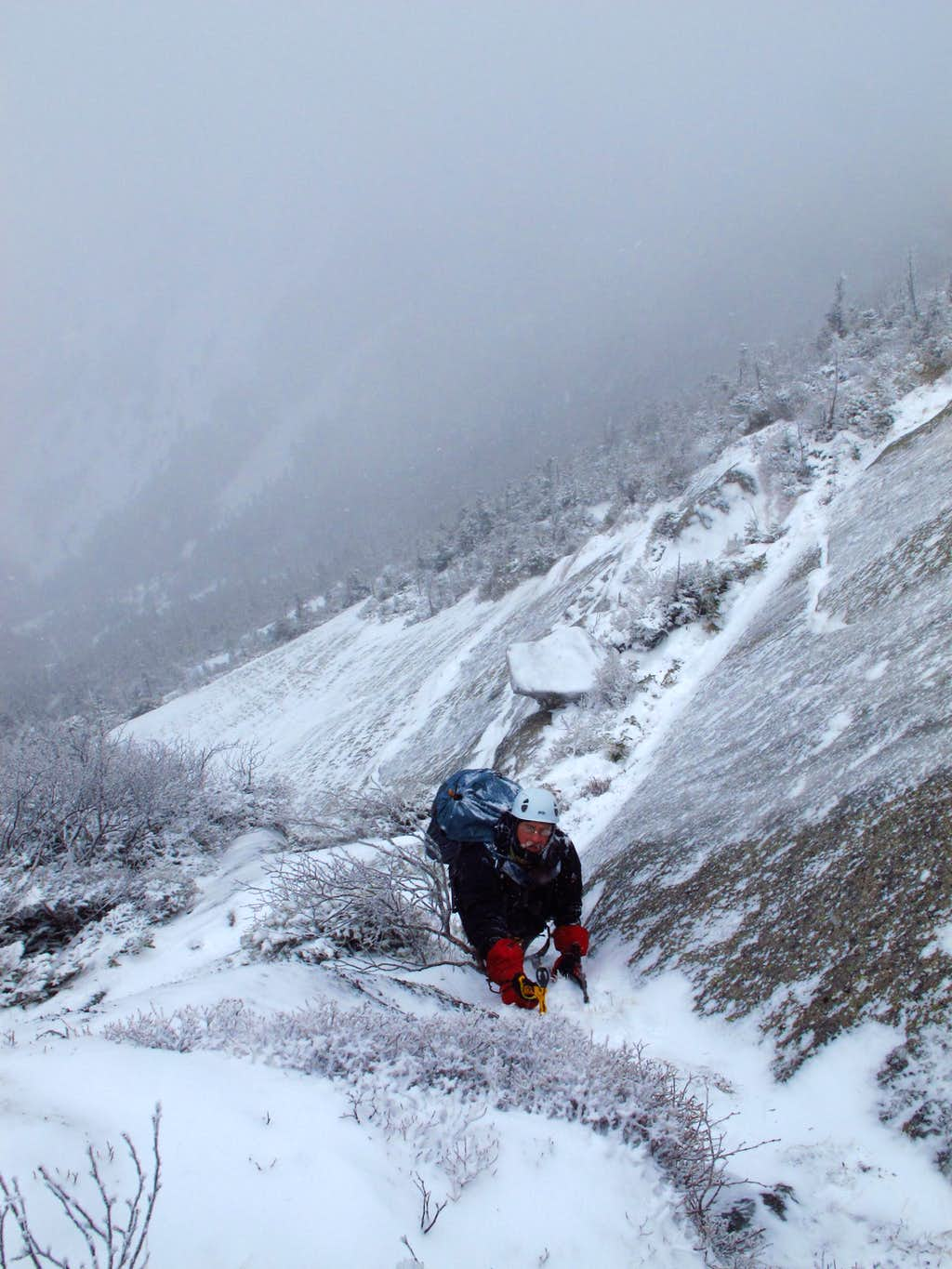 Kevin in teh Gully on Gothics West Face