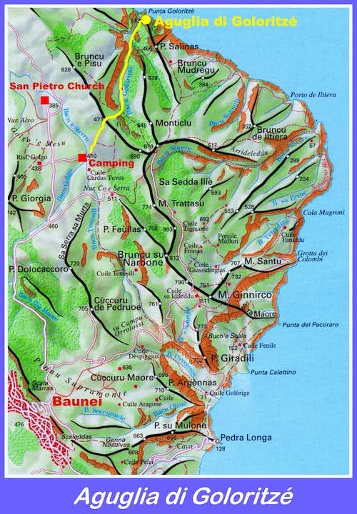Aguglia di Goloritzé map