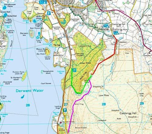 Routes up Walla Crag