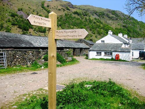 Road sign at Seathwaite Farm