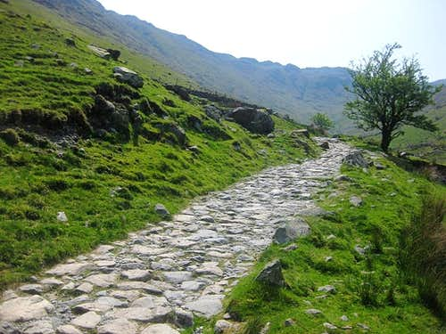 Cobblestone track alongside Grains Gill, between Seathwaite and Stockley Bridge