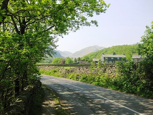 The road from Rosthwaite to Seatoller, with Dale Head in the distance