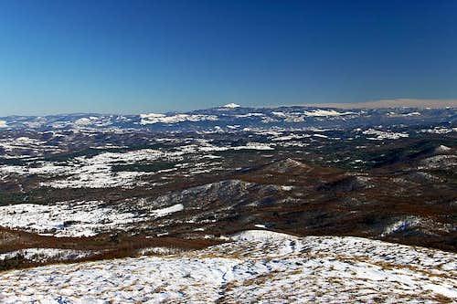 The view from Slavnik towards Sneznik