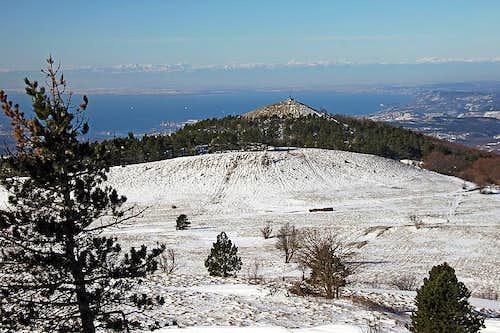 The view from Slavnik towards Trieste bay