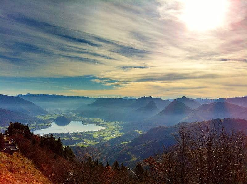 View from Zwölferhorn over the Wolfgangsee lake and the Osterhorn group