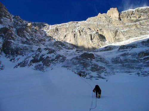 Going up to climb the north face in winter