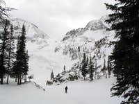A frozen Lake Agnes below...
