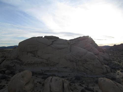 At the top of a huge boulder near the Hidden Valley Campground, Joshua Tree National Park