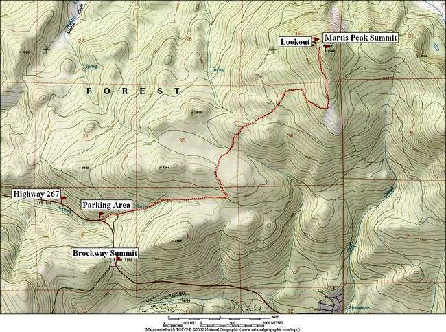 Map of the route to Martis...