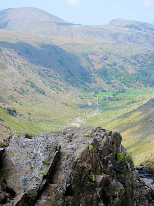 View down the Grains Gill valley towards Seathwaite Farm