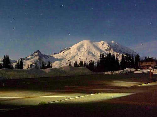 Mount Rainier at Night from Sunrise