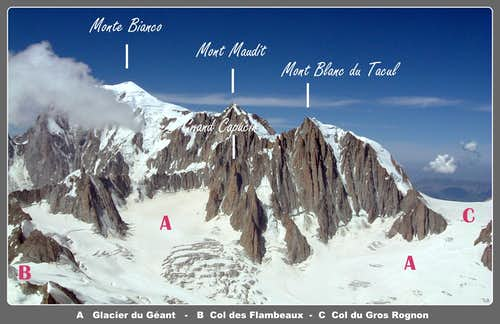 Grand Capucin and Mont Blanc labelled