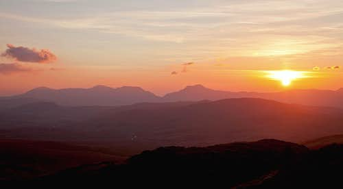 Sunseting over the Rhinogau hills, Snowdonia