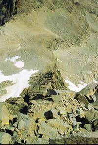Looking down the Swiss Arete,...